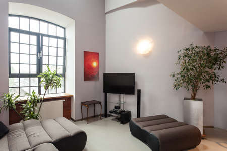 Inter of a grey living room with red painting Stock Photo - 20622250