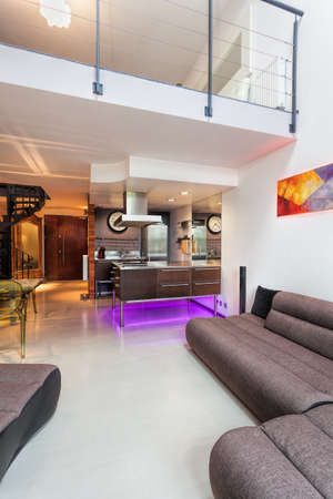 violet residential: Interior of a modern living room, kitchen and a loft