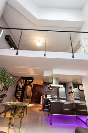 Vertical photo of a loft apartment, modern interior photo
