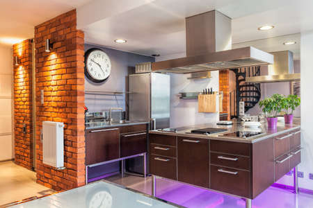 chambre luxe: Int�rieur d'une cuisine moderne et un mobilier