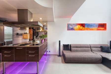 Kitchen counter and sofa in a spacious apartment photo