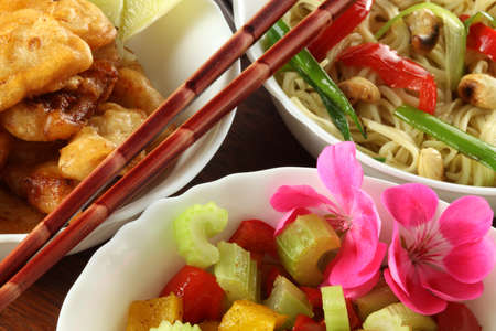 bird 's eye view: Chinese food Stock Photo