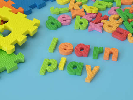 Colorful foam letters for play and learn photo