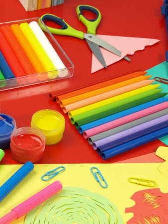 Crayons and colorful children photo
