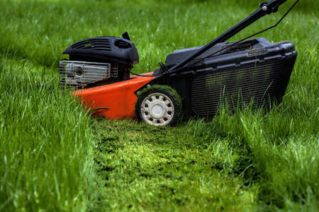 Mower standing in a garden  Stock Photo - 20994231