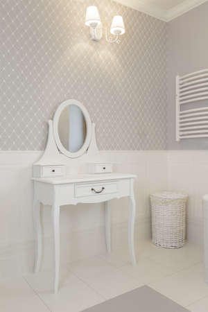 dressing table: Tuscany - white dressing table in bathroom Stock Photo