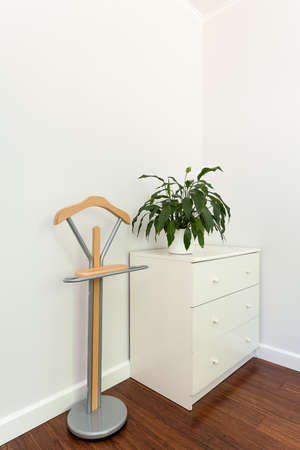 belongings: Bright space - a white chest of drawers and a hanger