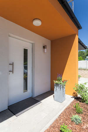 balcony door: Bright space - an entrance to a modern mansion