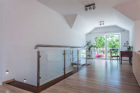 first floor: Bright space - the first floor of a modern apartment Stock Photo