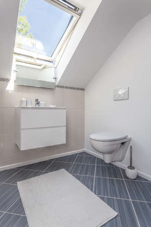 Bright space - a white toilet with a bowl and a sink Stock Photo - 21132037