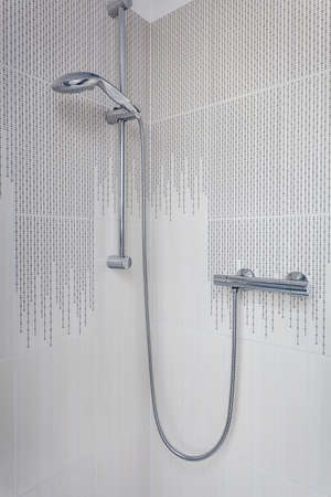 Bright space - a silver shower in anecru bathroom Stock Photo - 21132040