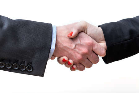 Closuep of a handshake on a isolated background Stock Photo - 21299008