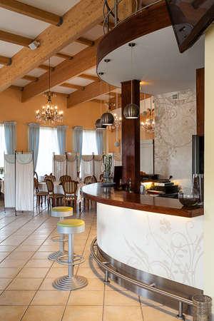 mediterranean interior: Mediterranean interior - a modern bar in an elegant restaurant
