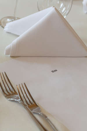 Mediterranean interior - a restaurant menu on a table photo