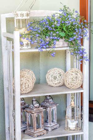Mediterranean interior - artistic vintage shelves with stylish ornaments Stock Photo - 21363354