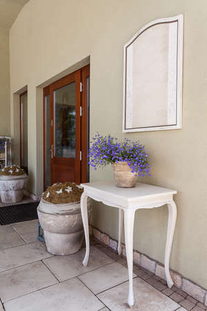 mediterranean interior: Mediterranean interior - a front door of a stylish building