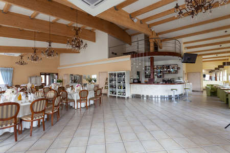 mediterranean interior: Mediterranean interior - a spacious interior with tables and a bar Stock Photo