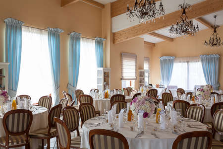 mediterranean interior: Mediterranean interior - elegant tables set for a party Stock Photo