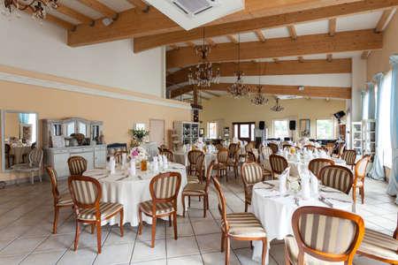 mediterranean interior: Mediterranean interior - a luxurious restaurant with stylish details Stock Photo