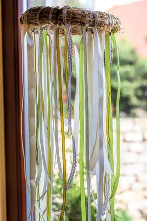 mediterranean interior: Mediterranean interior - a straw wreath with ribbons