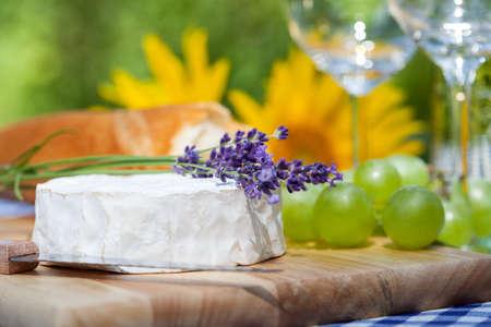 カマンベール チーズの上のラベンダーの小枝 写真素材