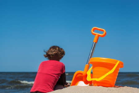 sand mold: Woman and beach toy set with sea