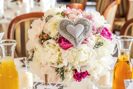 Mediterranean interior - a cream and pink wedding bunch photo