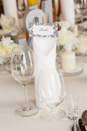 mediterranean interior: Mediterranean interior - brides set by a table Stock Photo