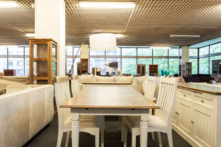 furniture store: Dining space in a furniture shop Stock Photo