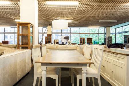 furniture shop: Dining space in a furniture shop Stock Photo