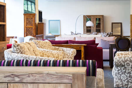 seating furniture: Colorfull sofas in a furniture shop