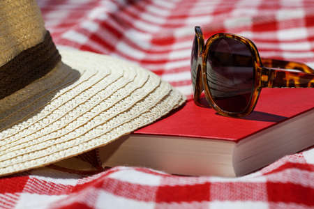 picnic blanket: Closeup of a sunglasses, hat and book