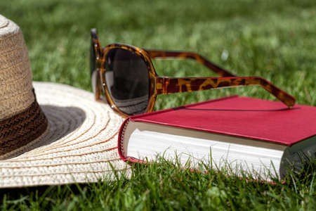 Closeup of a straw hat, sunglasses and a book photo