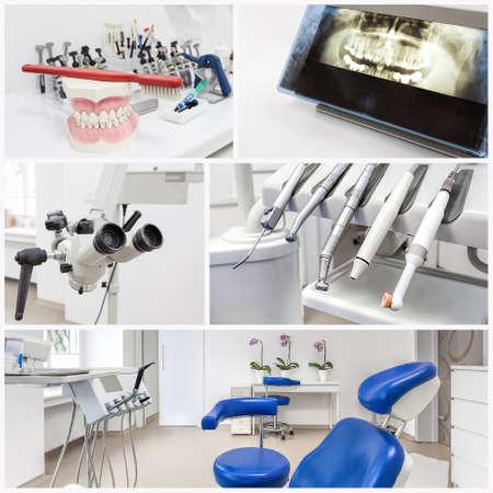 현대 사무실에서 치과 의사의 장비의 콜라주