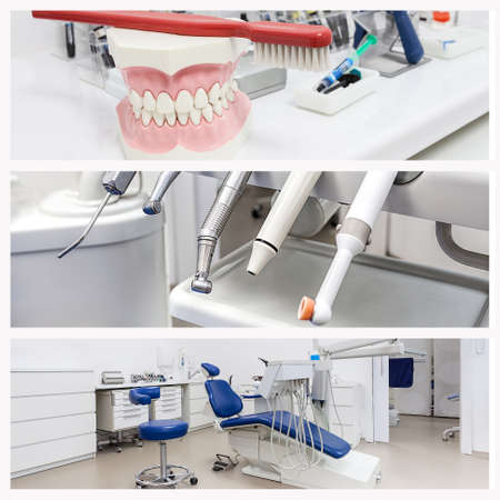 dental tools: Jaw, drillers and a dental seat, collage
