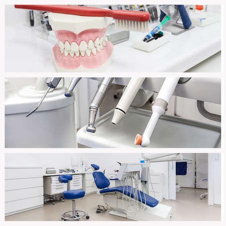dentista: Mand�bula perforadores y un asiento dental, collage