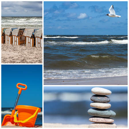 Four photos of sea and beach, collage photo