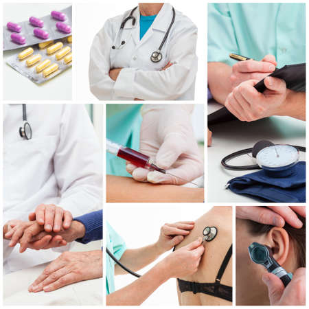 Collage of examinations at doctor office