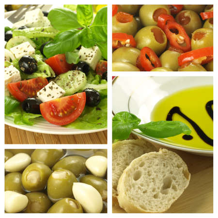 Four photos of mediterranean cuisine, collage photo