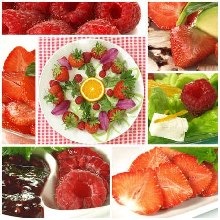 season photos: Collage of fresh summer fruits- strawberries and raspberries