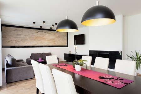 Stedelijke appartement - Moderne woonkamer verbonden met eetkamer
