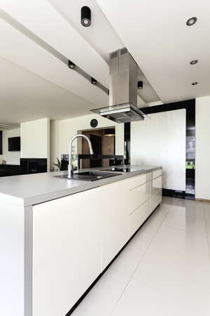 travertine house: Urban apartment - white and black kitchen in modern house