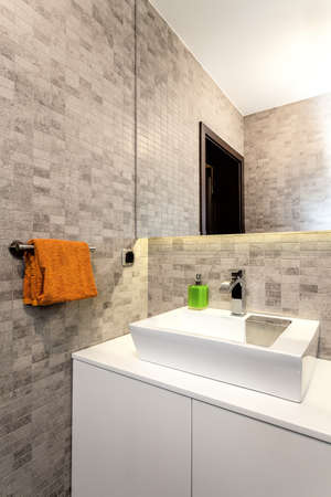 Urban apartment - White basin and counter in batrhoom Stock Photo - 21821926