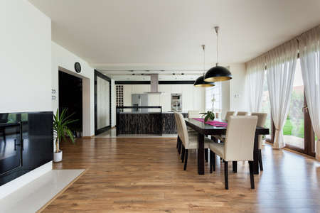 modern dining room: Urban apartment - Kitchen, dining room and living room
