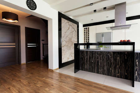 bar counters: Urban apartment - open kitchen interior and corridor