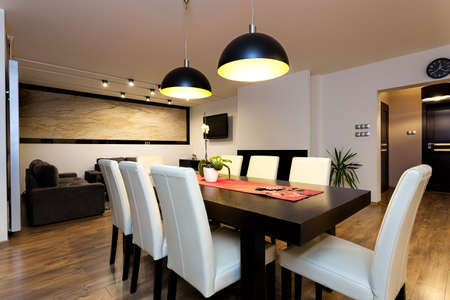 Urban apartment - climatic lightet up interior in modern house Stock Photo - 21822003