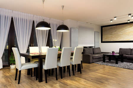 Urban apartment - Table with chairs in modern dining room photo