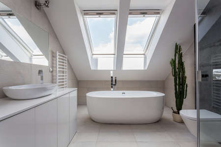 Urban apartment - white bathroom with modern bath Stock Photo - 21652218
