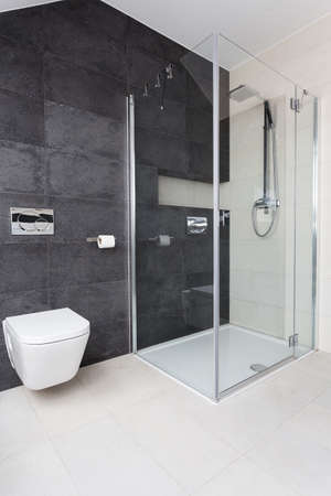 bathroom mirror: Urban apartment - modern glass shower in bathroom Stock Photo