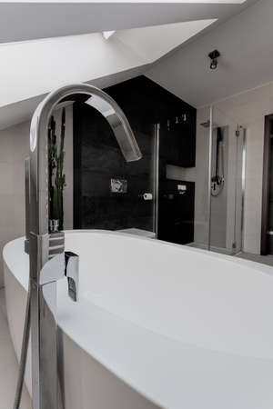 Urban apartment - closeup of a luxury bath with silver tap Stock Photo - 21822125